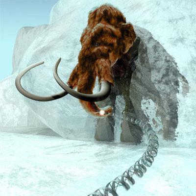 Recreación de un mamut siberiano