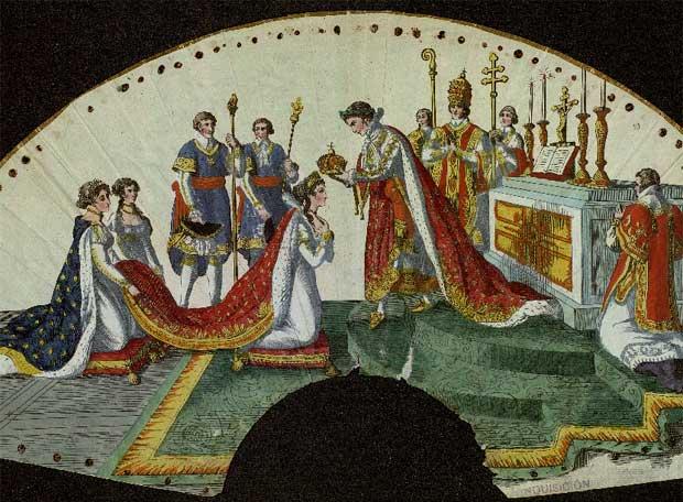 Abanico que reproduce el momento de la coronación de Josefina Bonaparte