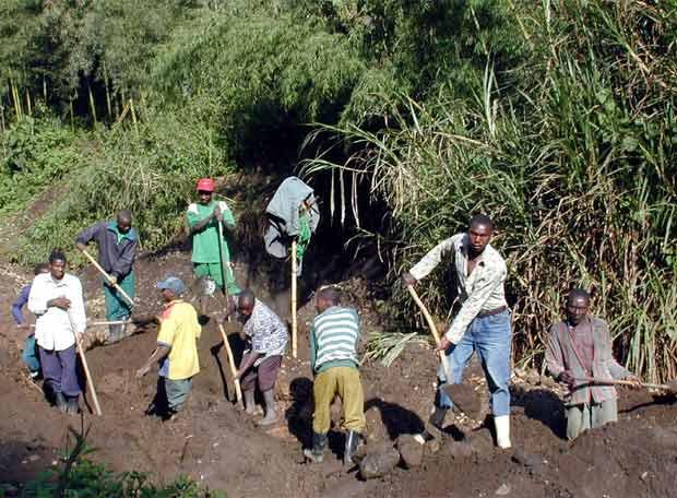 Un grupo de mineros extrae coltán en la zona de Masisi