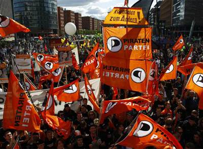 Seguidores del Partido Pirata alemán, durante las pasadas elecciones federales