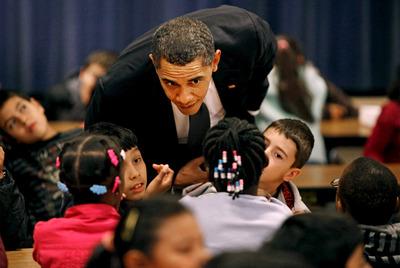Obama, con un grupo de escolares