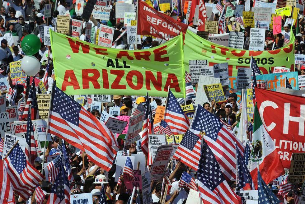 Manifestación a favor de los migrantes