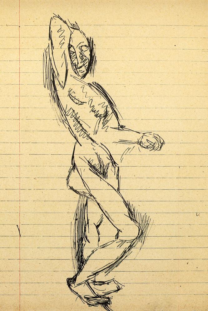 Facsímil de uno de los dibujos del Cuaderno Nº 7, preparatorio de Las señoritas de Aviñón.
