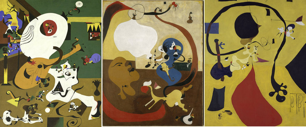 Los tres Interiores holandeses de Miró; de izquierda a derecha el I, el II y el III.-