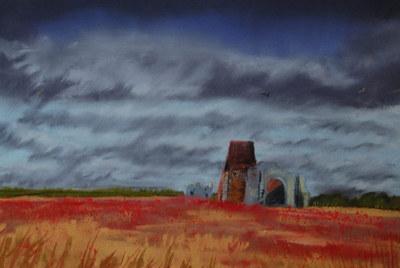 El joven pintor de siete años en la galería.-