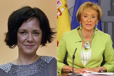 La ex presidenta del CIS Belén Barreiro (izquierda) y la vicepresidenta María Teresa Fernández de la Vega.-