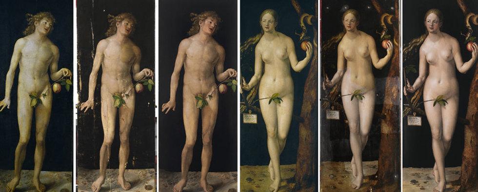 A la izquierda, Adán, antes, durante y después de la restauración. A la derecha, Eva en el mismo proceso.-