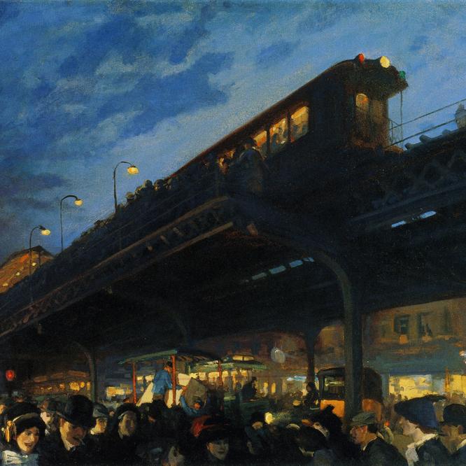A las seis, en invierno ( 1912), óleo de John Sloan.-