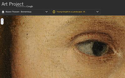 Imagen extraída de la web www.googleartproject.com: detalle de un ojo en Joven caballero en un paisaje, de Carpaccio, obra del museo Thyssen.-
