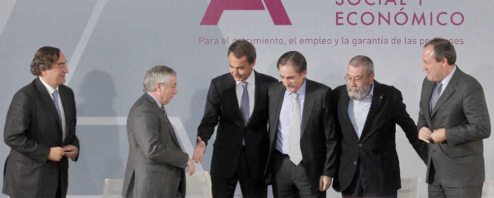 Juan Rosell, Ignacio Fernández Toxo, José Luis Rodríguez Zapatero, Valeriano Gómez, Cándido Méndez y Jesús Terciado