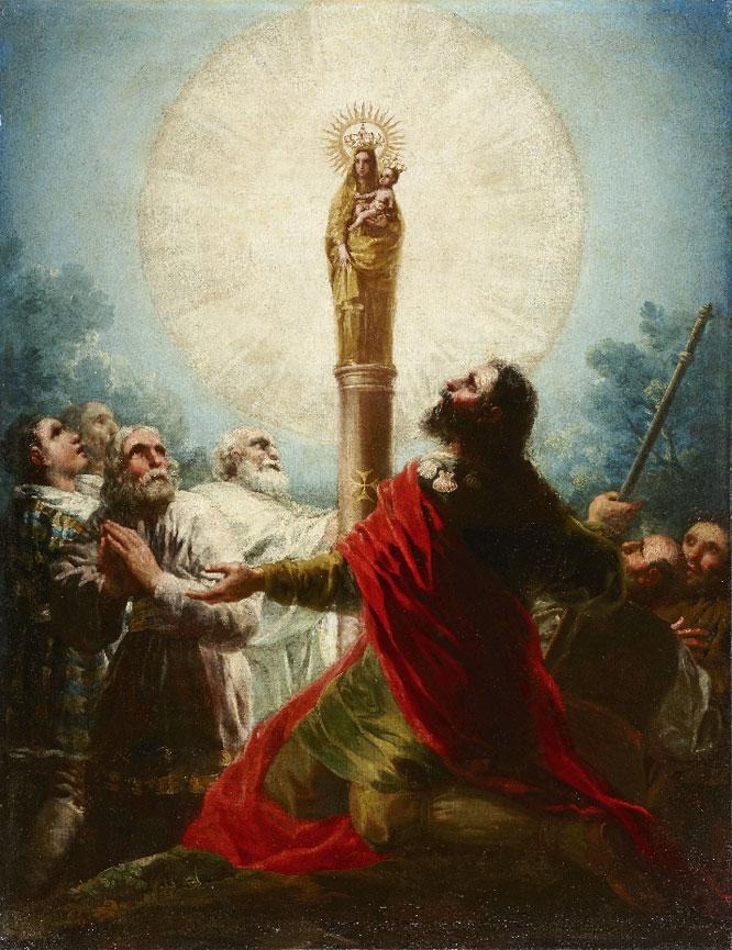 El apóstol Santiago y sus discípulos adorando a la Virgen del Pilar, obra de Goya y ahora en venta.-
