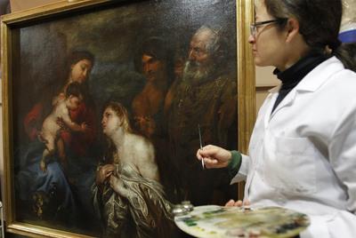 El lienzo de Anthonius van Dyck, hallado y restaurado en la Real Academia de Bellas Artes.- SAMUEL SÁNCHEZ