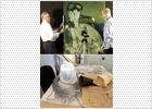 Jorge García Gómez-Tejedor, jefe de restauración, y Maite Ortega, coordinadora de proyectos, ante una obra de José Luis Alexanco.- BERNARDO PÉREZ