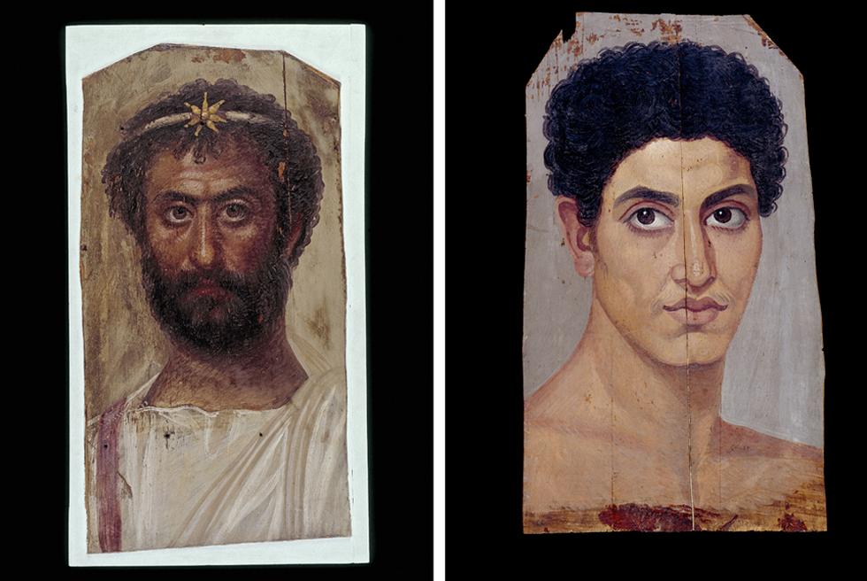 Retratos de las momias de un sacerdote de Serapis y de un joven efebo, procedentes ambos de Hawara, la necrópolis de Arsinoe. BRITISH MUSEUM