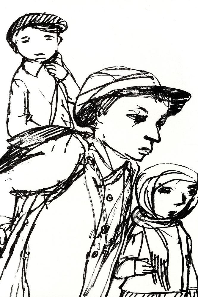 Ilustración de Carme Solé Vendrell en La cruzada de los niños, de Bertolt Brecht.-