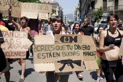 Protesta de indignados en Barcelona
