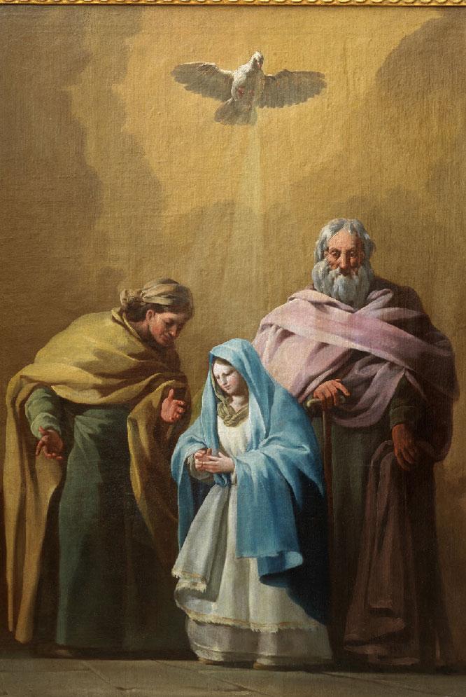 La Virgen con san Joaquín y santa Ana (hacia 1774), de Goya. A la derecha, detalle de la paloma.- ARS MAGAZINE