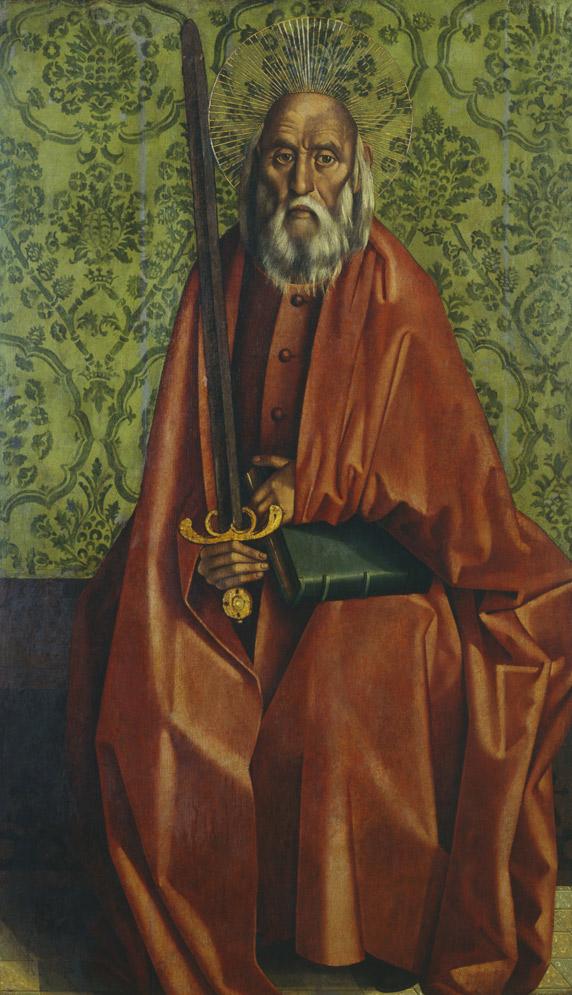 San Pablo (1470), de Nuno Gonçalves, propiedad del monasterio San Vicente de Fora (Lisboa).-