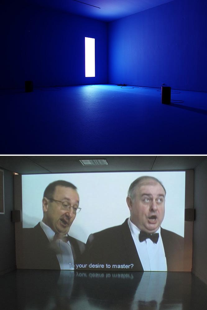 Arriba, Something between my mouth and your ear (1994), de Douglas Gordon. Abajo, Concierto para puño alzado (1997), de Juan Pérez Agirregoikoa.-