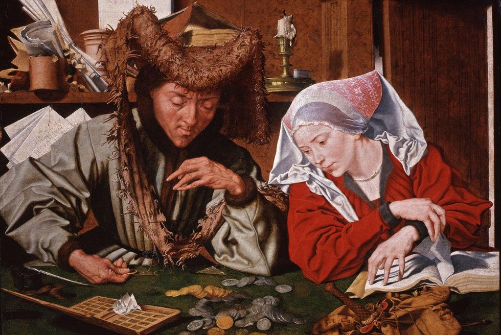 El cambista y su mujer, obra de Marinus van Reymerswaele presente en la exposición Dinero y belleza.-