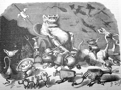 Ilustración de Gustave Doré inspirada en Gargantúa y Pantagruel.-