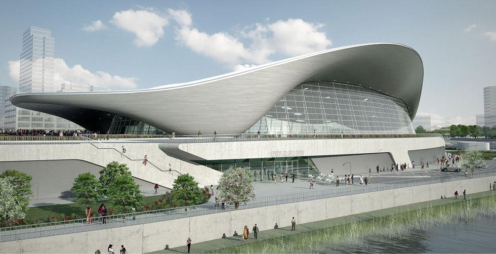 Una proyección virtual del centro acuático de Zaha Hadid para los Juegos de Londres.