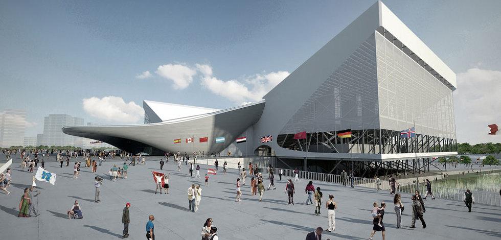 Una proyección virtual del centro acuático de Zaha Hadid para los Juegos de Londres.-