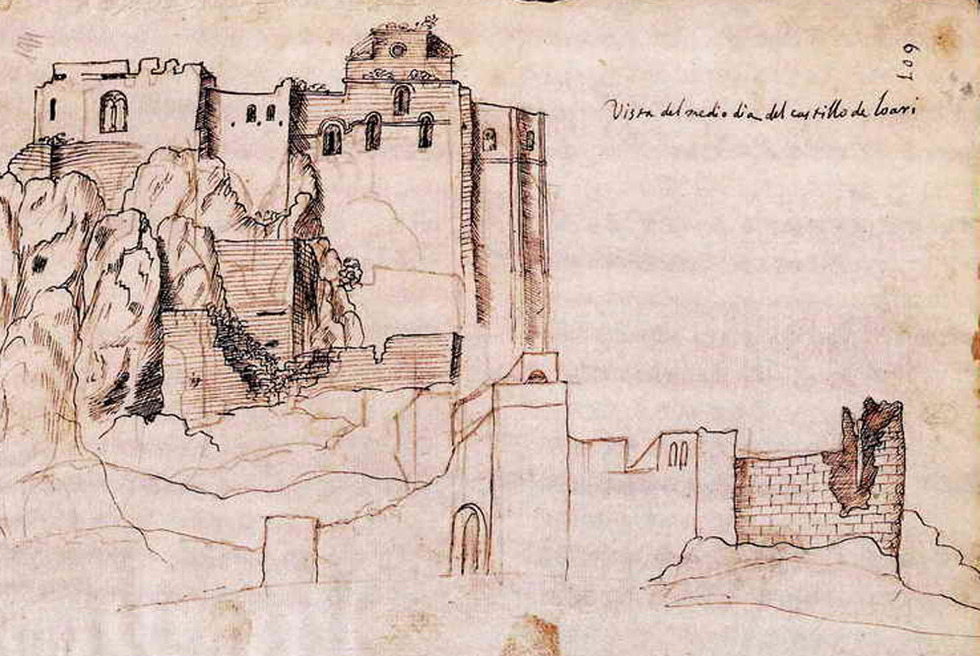 Dibujo de Peridis del castillo de Loarre, en Huesca