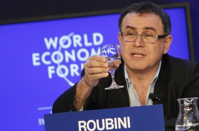 El analista Nouriel Roubini, en el Foro Económico Mundial.- AFP