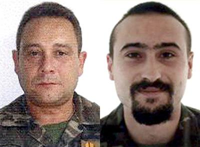 Fotografías de archivo del cabo primero Rubén Alonso Ríos (d) y el brigada Juan Andrés Suárez García (i), que han fallecido en el atentado perpetrado en el sur de Herat (Afganistán)- EFE