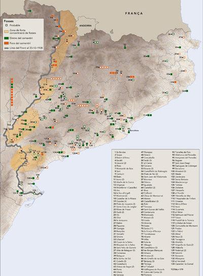 Mapa de fosas de Cataluña elaborado por el departamento de Interior de la Generalitat