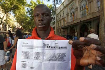 Abdallah Fall, uno de los manifestantes ante la Generalitat