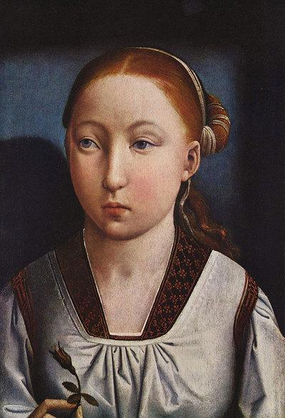 Retrato de Catalina de Aragón a los 11 años de Juan de Flñandes (Museo Thyssen-Bornemisza).-
