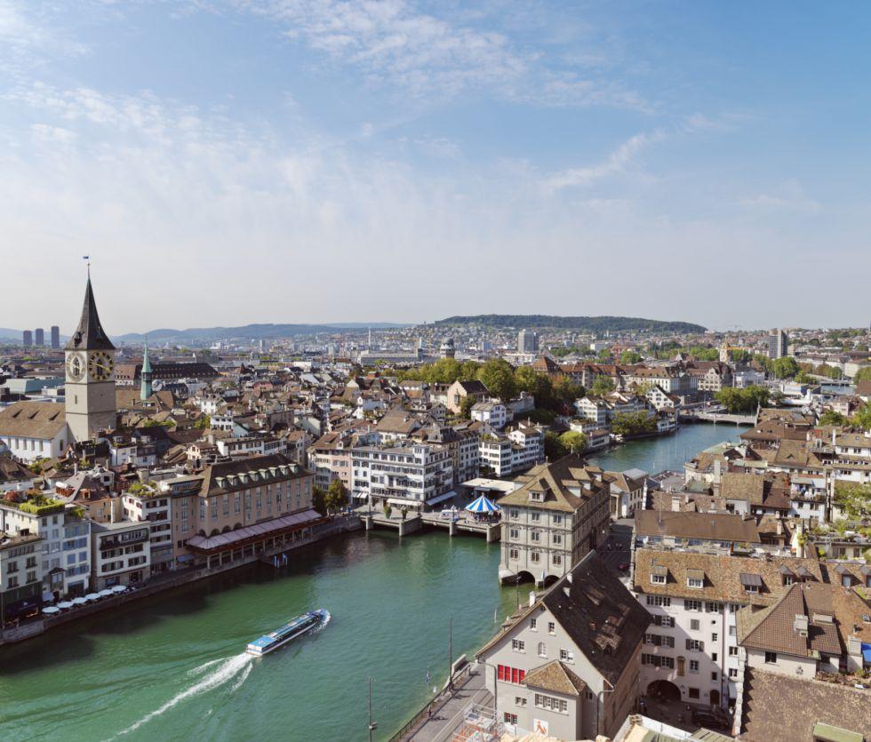 Vista aérea del río Limago a su paso por Zúrich.