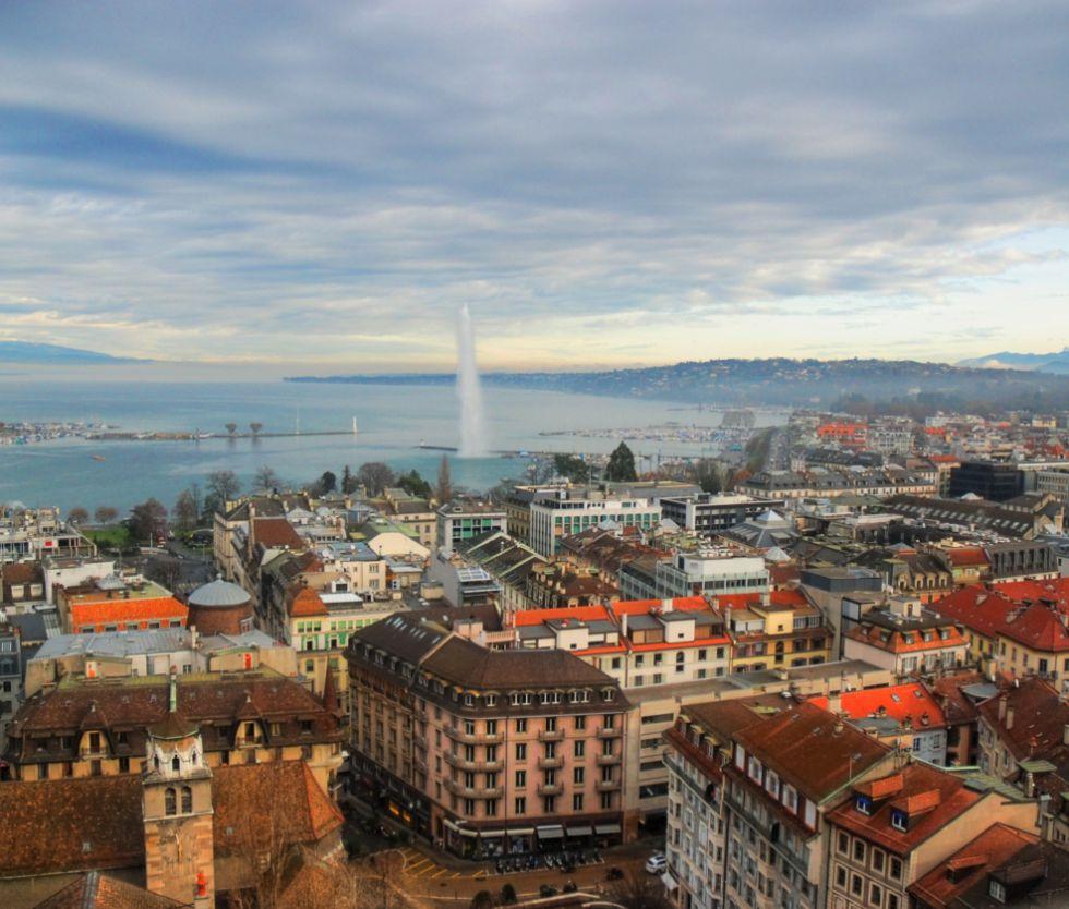 Vista de Ginebra desde la catedral de St. Pierre