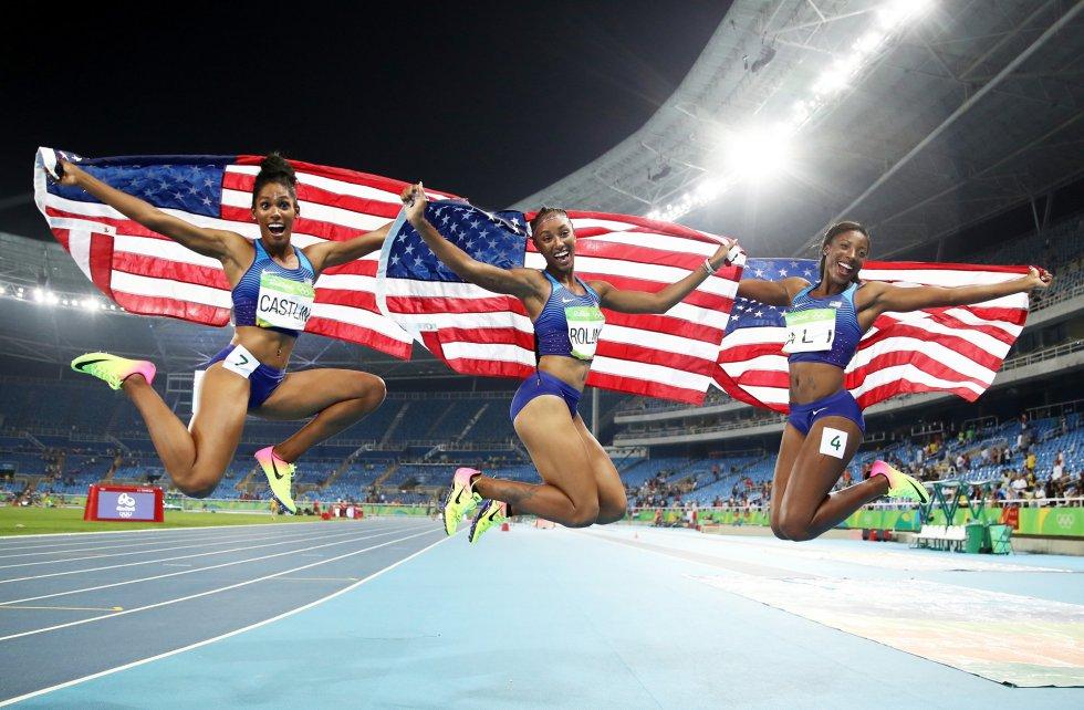Las atletas estadounidenses Kristi Castlin, Brianna Rollins y Nia Ali, bronce, oro y plata respectivamente en los 100 metros vallas.