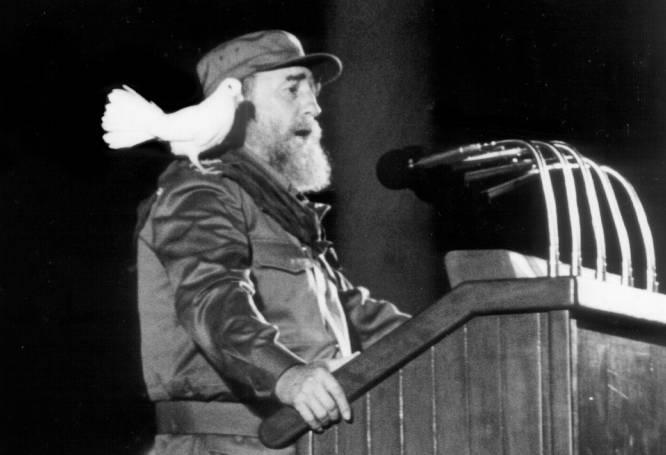 8 de enero de 1989, una paloma blanca se posa sobre el hombro del presidente cubano Fidel Castro, mientras ofrece un discurso a la juventud cubana en una ceremonia para conmemorar el XXX aniversario de la revolución cubana en La Habana.