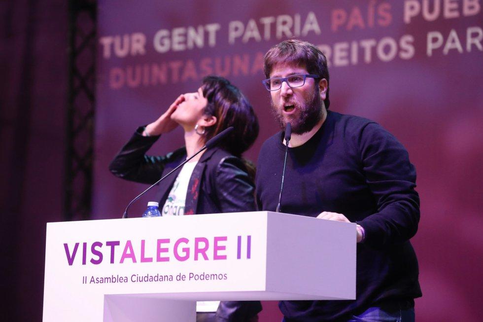 La coordinadora general de Podemos en Andalucía, Teresa Rodríguez (izquierda), y el eurodiputado de Podemos Miguel Urbán de Anticapitalistas.