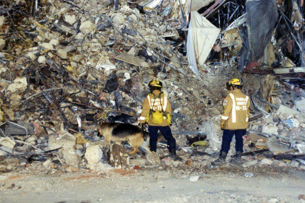 Expertos del FBI recaban evidencias después de que el vuelo 77 de American Airlines impactase contra las instalaciones del Pentágono tras ser secuestrado por cinco terroristas saudíes, poco tiempo después de partir el 11 de septiembre de 2001 del Aeropuerto Internacional de Dulles (Washington) con destino a Los Ángeles.