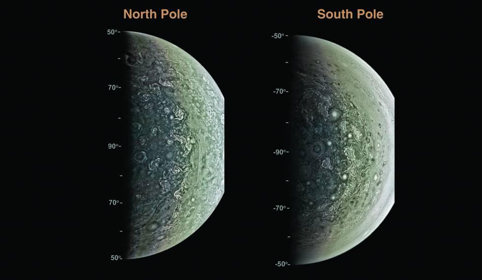 Juno muestra los polos de Júpiter por primera vez