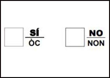Así es la papeleta que la Generalitat propone para el referéndum de Cataluña