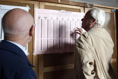 El líder del partido conservador N-VA, Bart De Wever, vota en la escuela pública de Berchem, en Amberes- GETTY