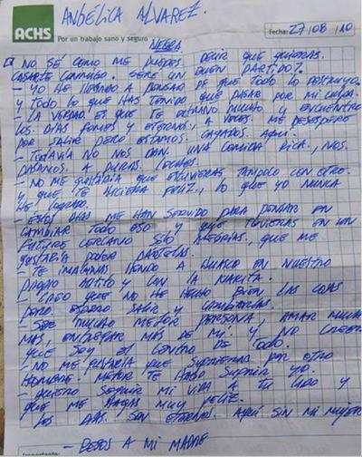 Carta de Edison Peña a su novia