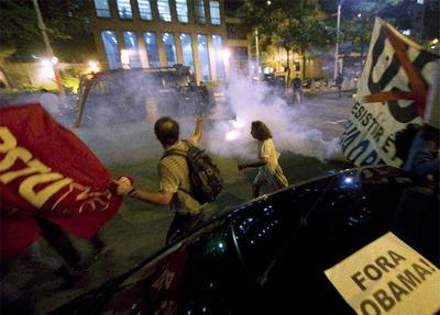 Manifestaciones en Brasil contra Obama