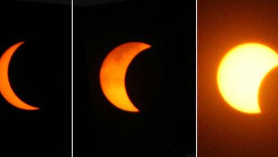 Evolución del eclipse solar de marzo de 2006, visto desde Jerusalén (Israel).
