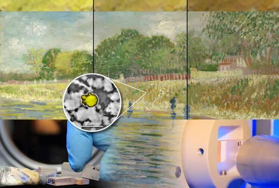 El cuadro Ribera del río Sena de Van Gogh, tal como está en la actualidad (centro) y recreación de su aspecto original en 1887 (izquierda) y de su futuro aspecto en 2050 (derecha). Abajo, imágenes de la investigación llevada a cabo en el ESRF.- ESRF/ANTWERP UNIVERSITY/MUSEO VAN GOGH