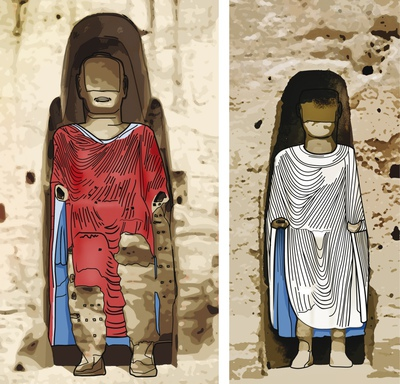 Ilustración de los dos budas de Bamiyan en que se aprecian los colores de sus túnicas. ARNOLD METZINGER