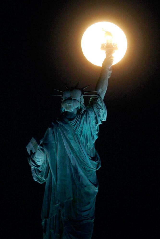 En la estatua de la Libertad, Nueva York