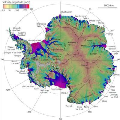 Dirección y velocidad de los glaciares antárticos