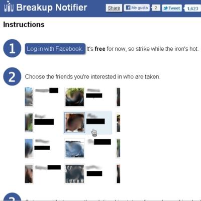 Una aplicación notifica las rupturas sentimentales